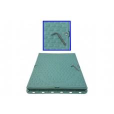 Capac necarosabil pătrat polimer-nisip cu închizător  A 15 VERDE